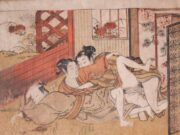 "Исода Корюсай (Isoda Koryusai) ""Two Men and a Woman"""
