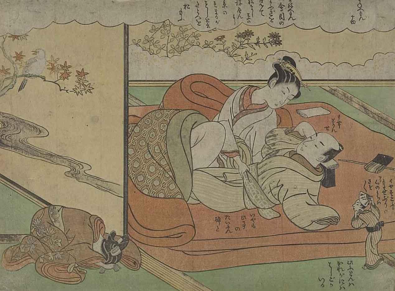"Исода Корюсай (Isoda Koryusai) ""Couple in Bed Watched by a Tiny Man"""