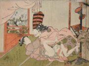 "Исода Корюсай (Isoda Koryusai) ""Man dressed as a sambaso dancer making love to a courtesan"""
