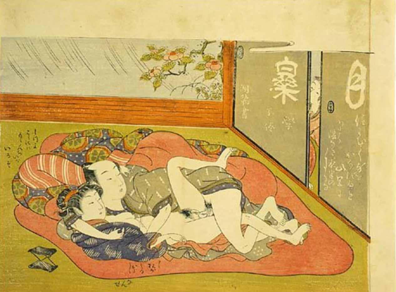 "Исода Корюсай (Isoda Koryusai) ""Child peeping through sliding doors startling a couple making love"""