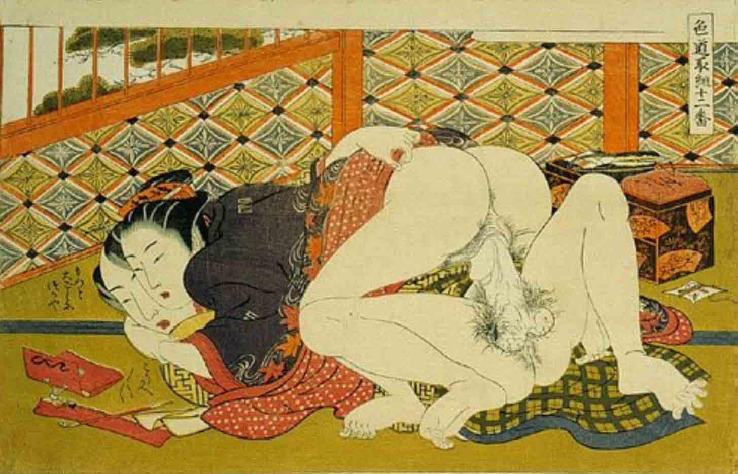 """Исода Корюсай (Isoda Koryusai) """"Couple making love while looking at a tobacco pipe and pouch"""""""