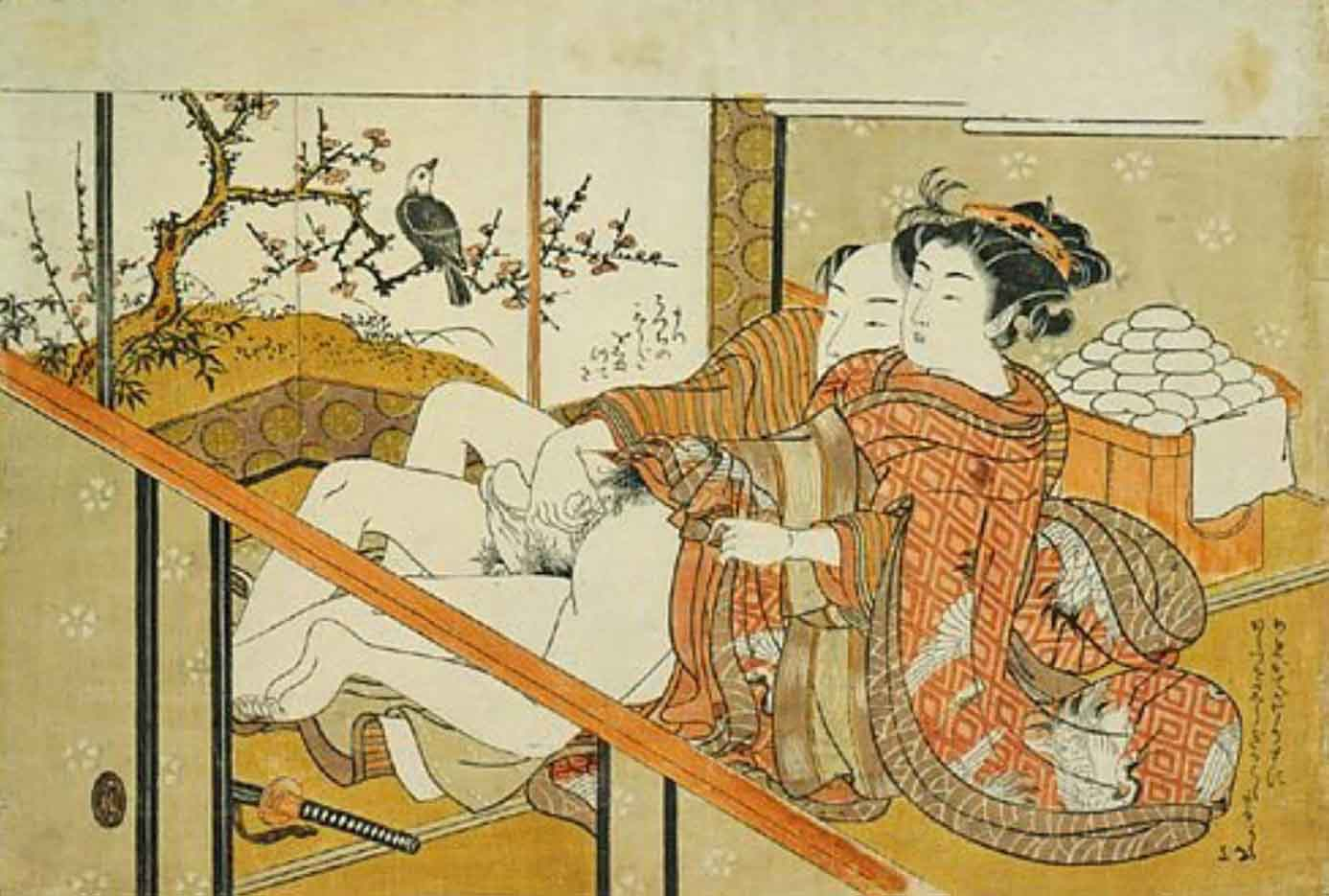 "Исода Корюсай (Isoda Koryusai) ""Couple making love in front of a mochi stand"""