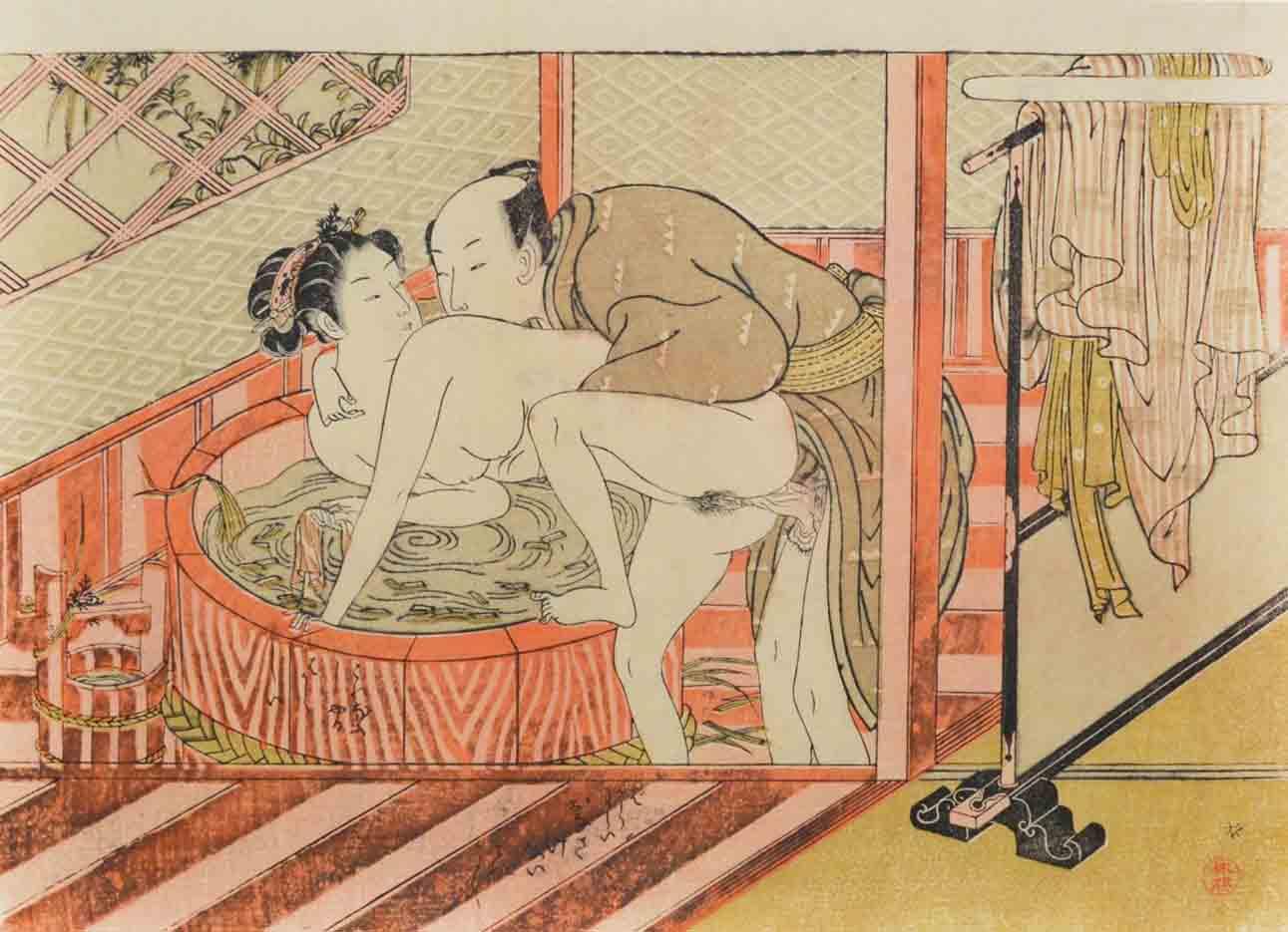 "Исода Корюсай (Isoda Koryusai) ""Couple at the Bathtub"""