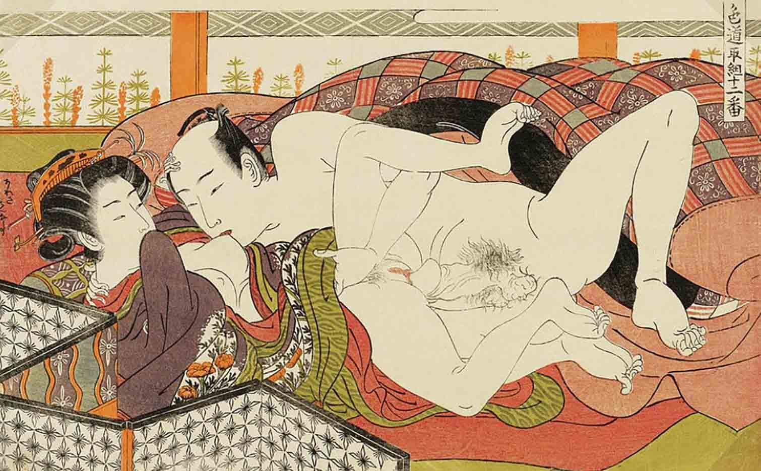 "Исода Корюсай (Isoda Koryusai) ""Kissing Her Breast"""