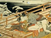 "Исода Корюсай (Isoda Koryusai) ""Couple playfully make love on the veranda in winter"""