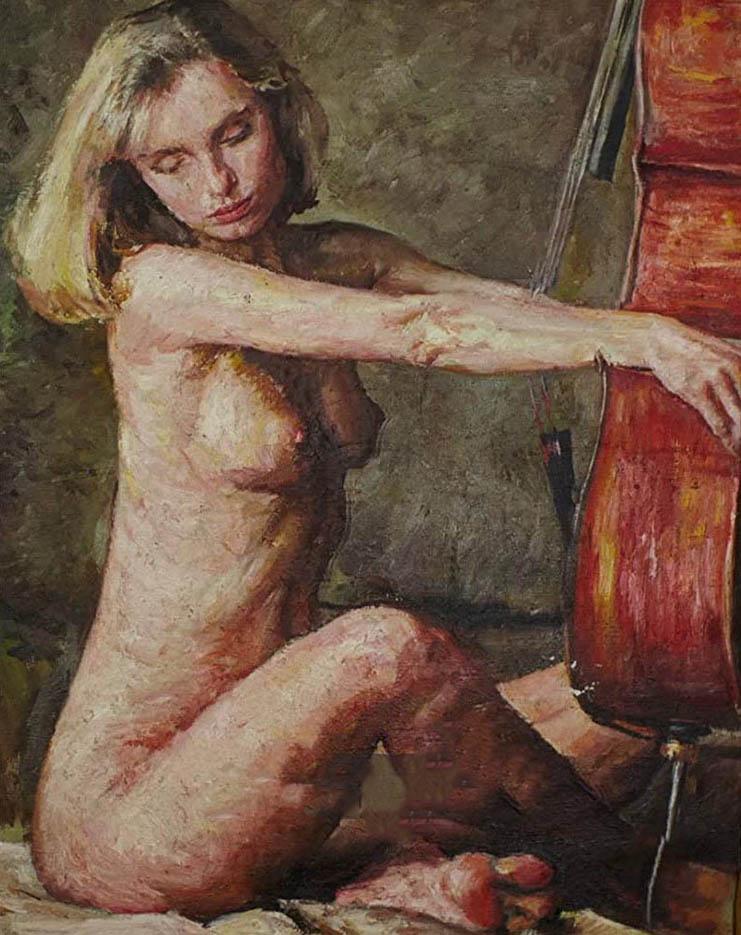 "Вадим Кучер-Куцан (Vadim Kucher-Kutsan) ""Девушка с виолончелью   A girl with a cello"""