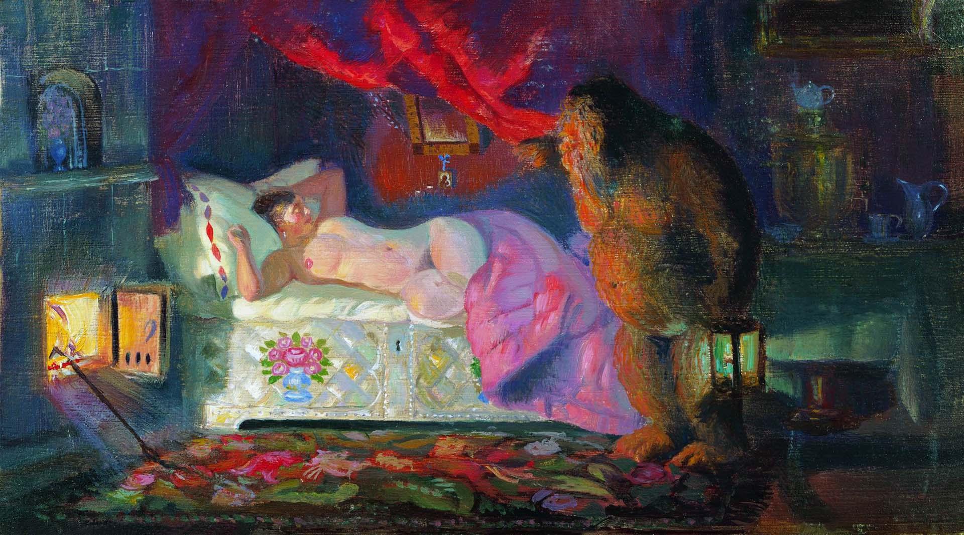 Борис Кустодиев (Boris Kustodiev), Купчиха и домовой