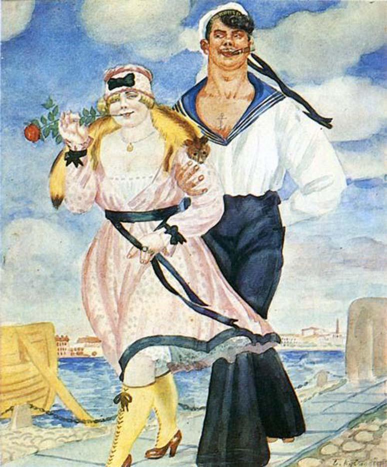 Борис Кустодиев (Boris Kustodiev), Моряк и девушка