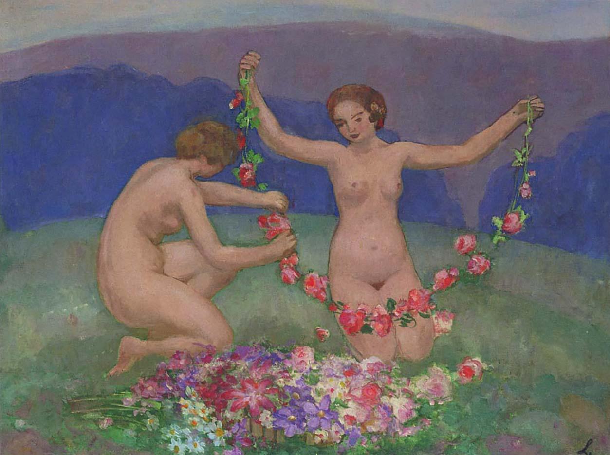"""Анри Лебаск (Henri Lebasque) """"Две молодые девушки с гирляндами"""""""