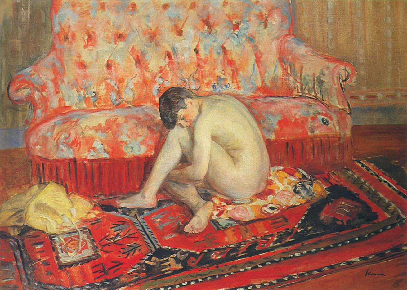 "Анри Лебаск (Henri Lebasque) ""Nude on Red Carpet"""