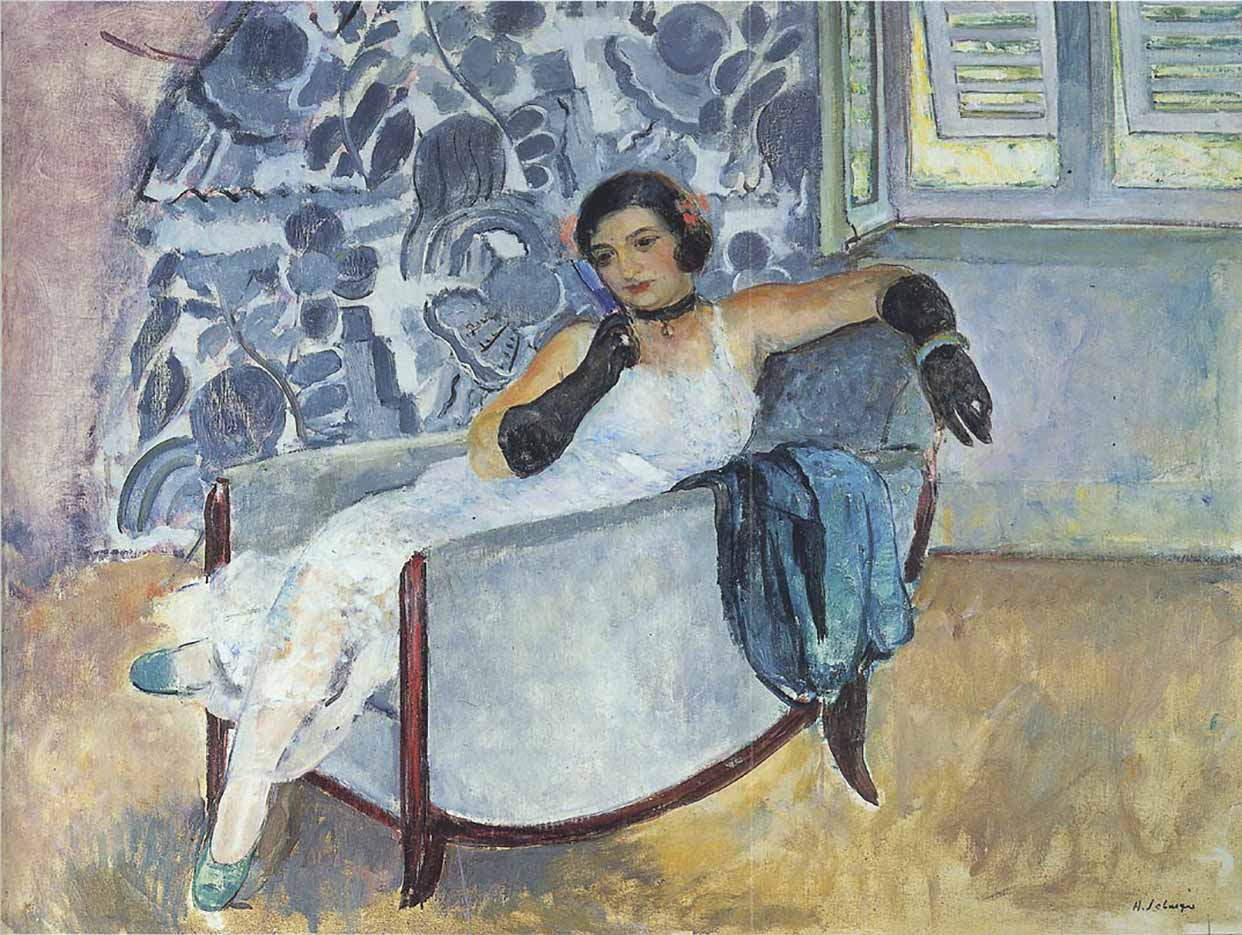 "Анри Лебаск (Henri Lebasque) ""Woman in black gloves"""