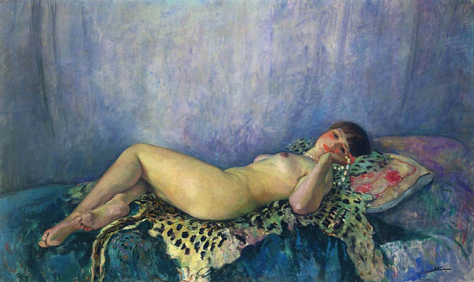 "Анри Лебаск (Henri Lebasque) ""Nude on leopard skin"""