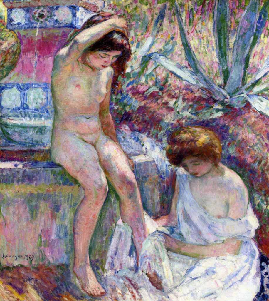 "Анри Лебаск (Henri Lebasque) ""Madame Lebasque and Marthe near Fountain"""