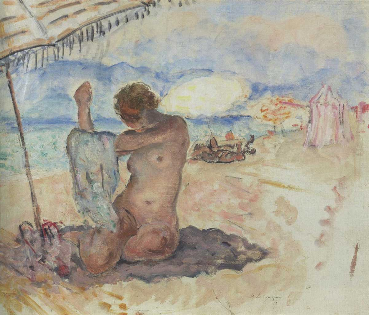 "Анри Лебаск (Henri Lebasque) ""Nude on the beach"""