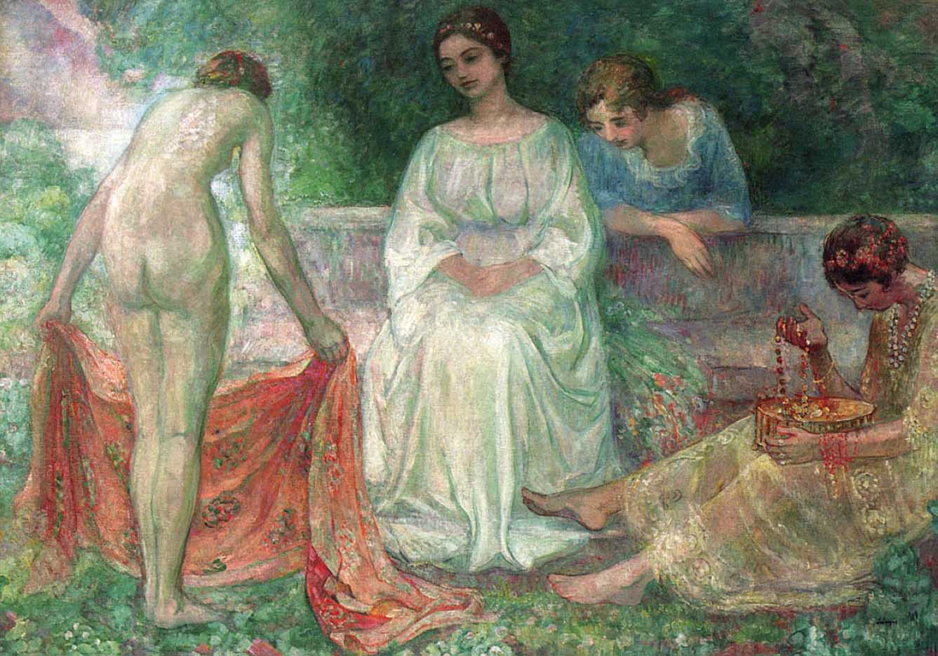 "Анри Лебаск (Henri Lebasque) ""Services in the garden"""