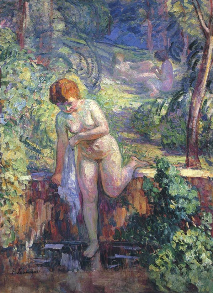 "Анри Лебаск (Henri Lebasque) ""Girl in the garden at Saint-Tropez"""