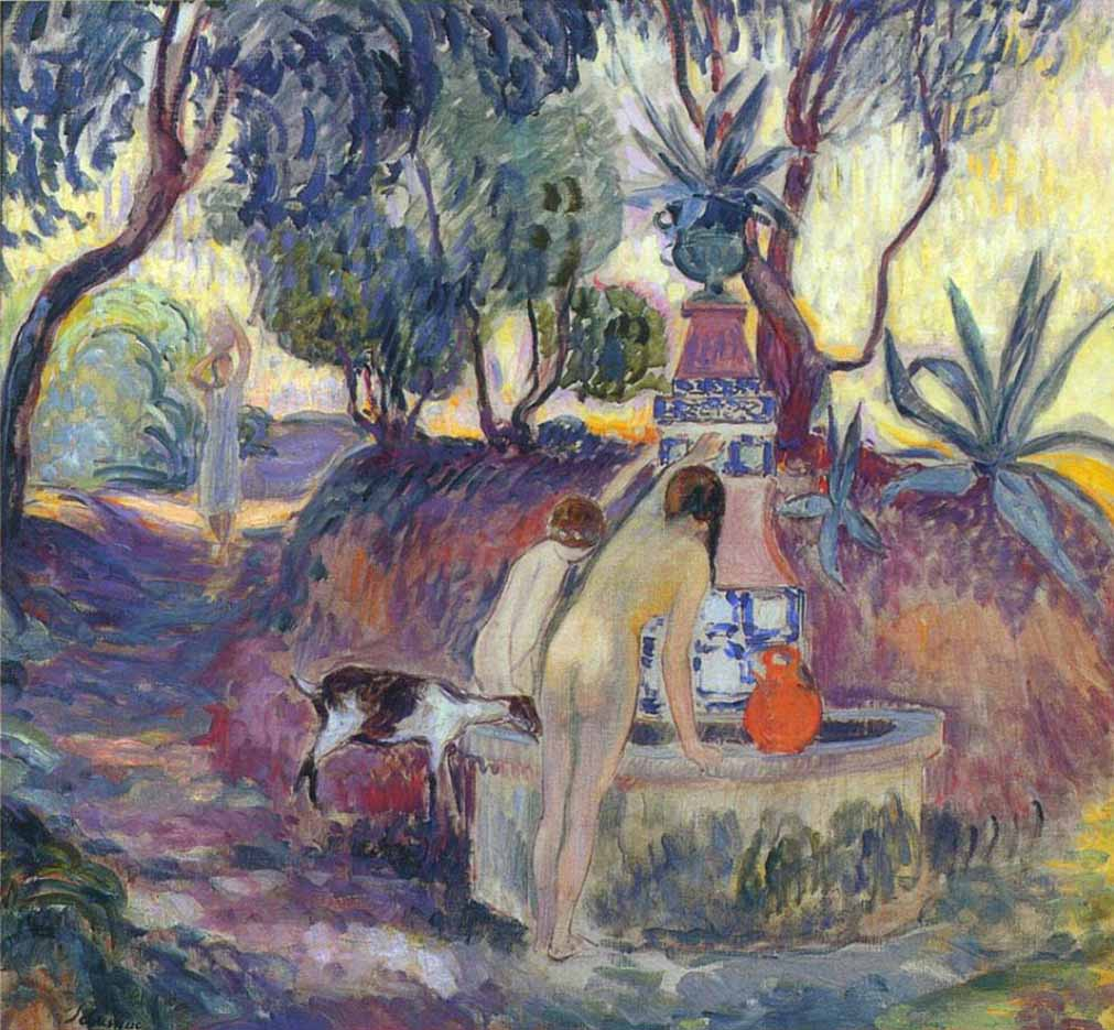 "Анри Лебаск (Henri Lebasque) ""Купальщицы у фонтана Сен-Тропе"""