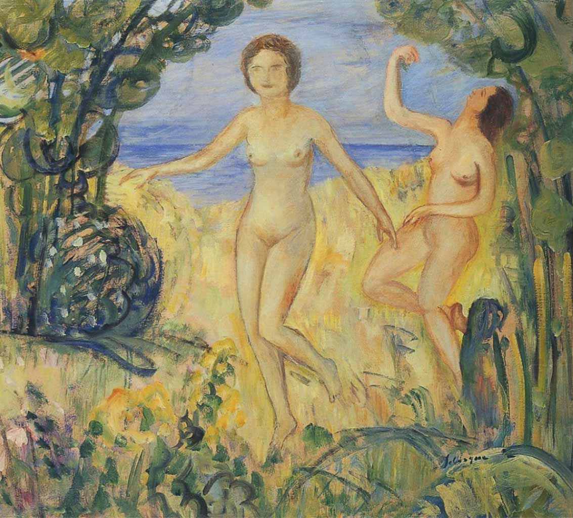 "Анри Лебаск (Henri Lebasque) ""Two bathers on the shore"""