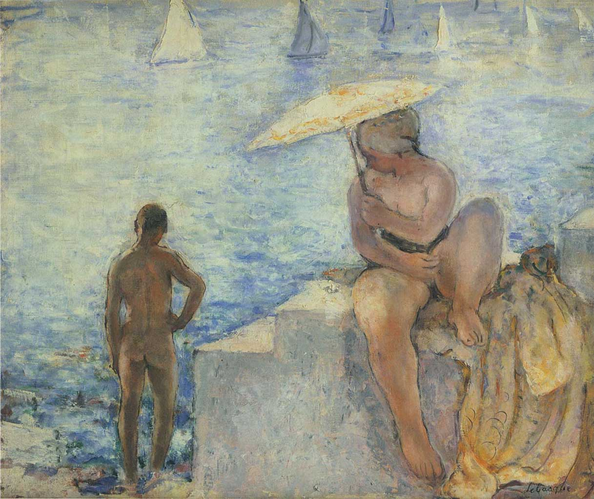 "Анри Лебаск (Henri Lebasque) ""Young bather with an umbrella"""