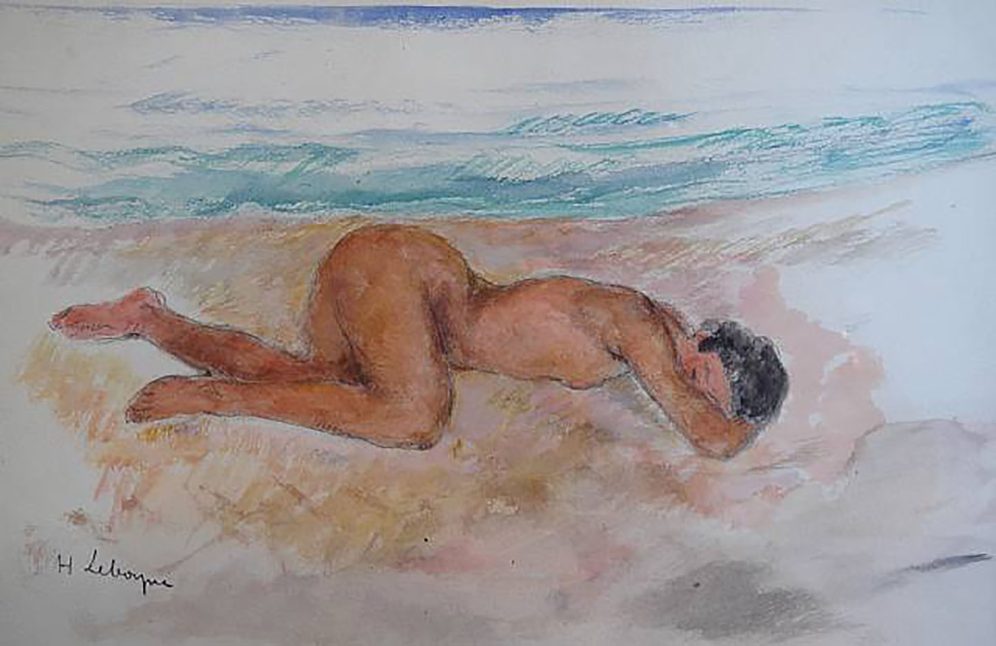 "Анри Лебаск (Henri Lebasque) ""Nude on the beach (2)"""