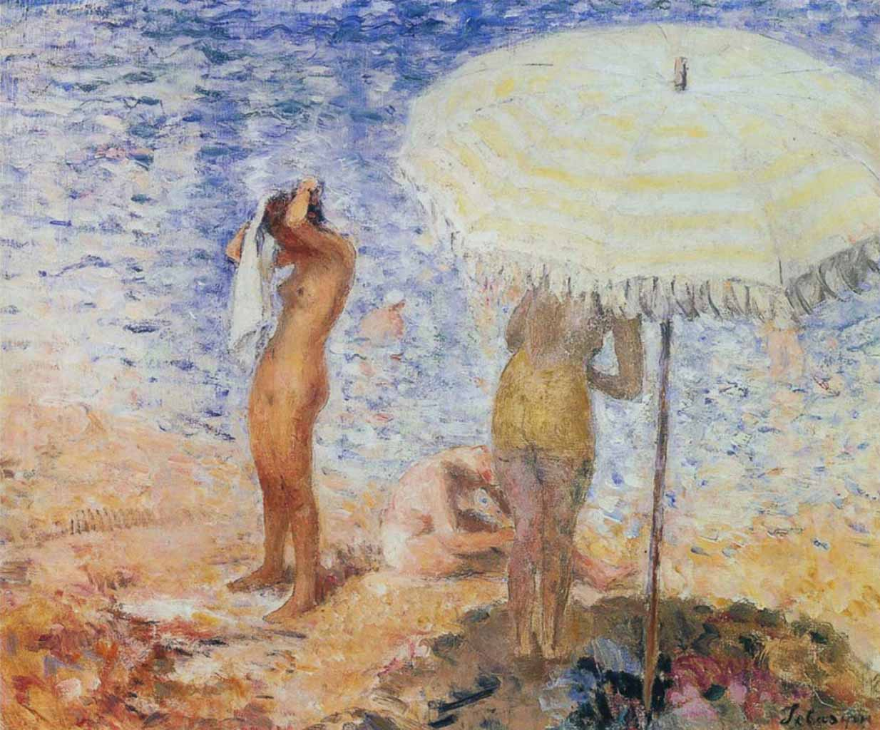 "Анри Лебаск (Henri Lebasque) ""On the beach"""