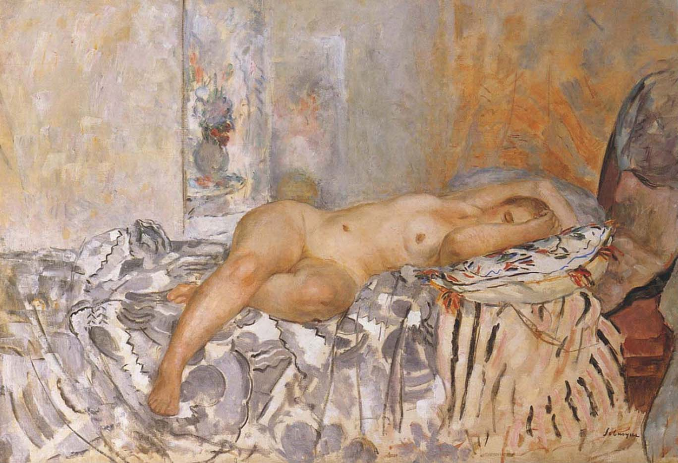 "Анри Лебаск (Henri Lebasque) ""Nude on Spanish Blanket"""