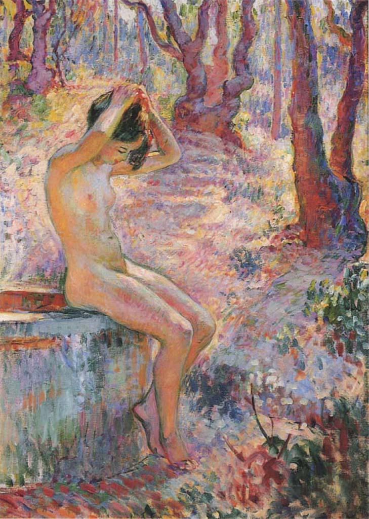 "Анри Лебаск (Henri Lebasque) ""Young girl at the well"""