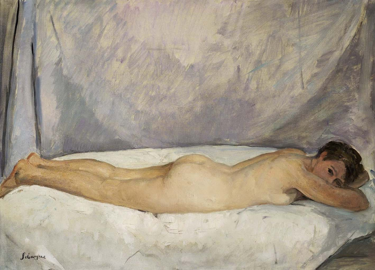 "Анри Лебаск (Henri Lebasque) ""Female Nude Laying"""