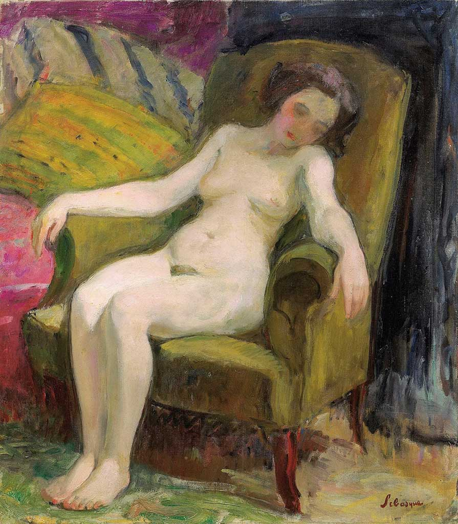 "Анри Лебаск (Henri Lebasque) ""Nude in Armchair (2)"""