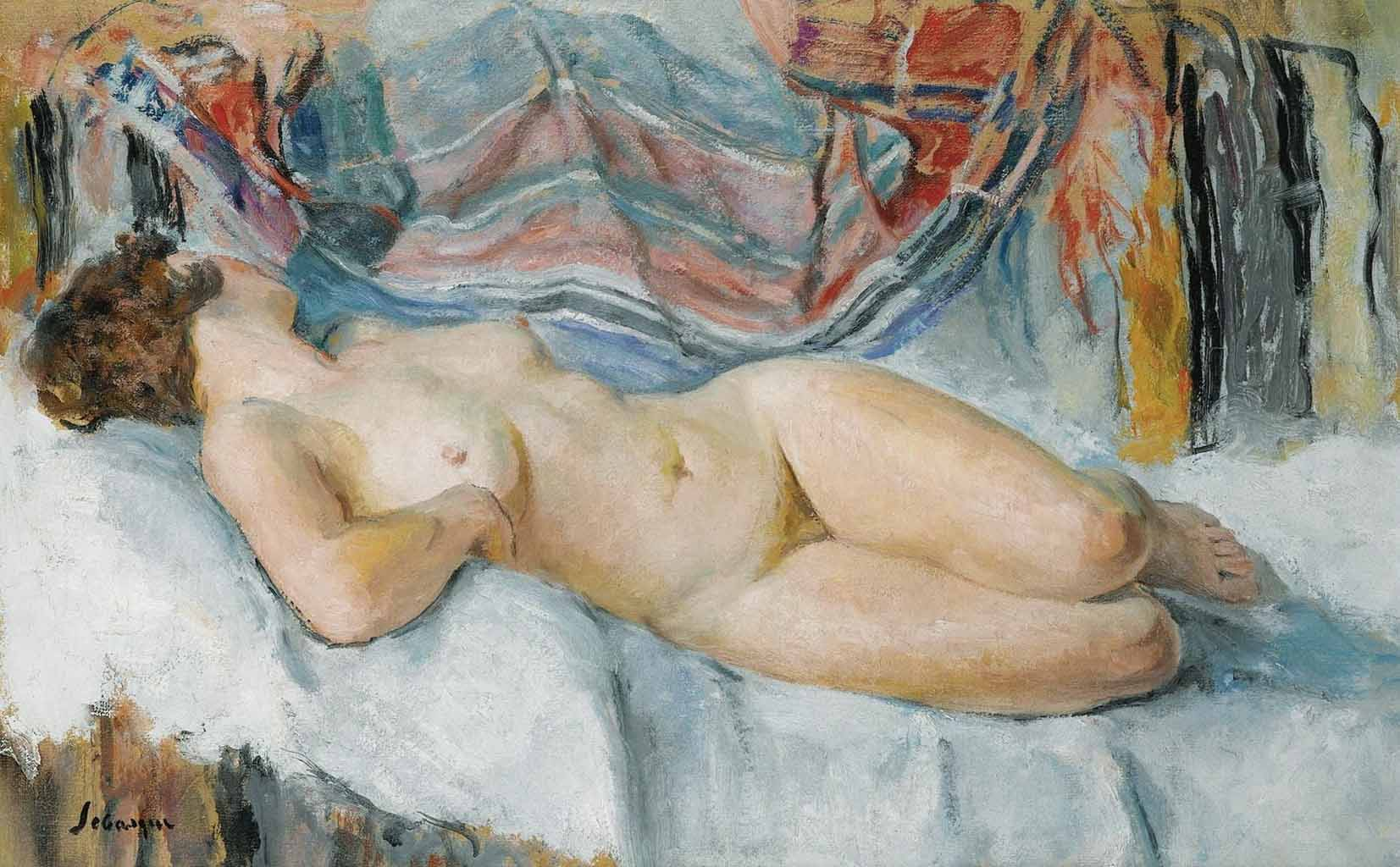 "Анри Лебаск (Henri Lebasque) ""Nude on the Bed"""