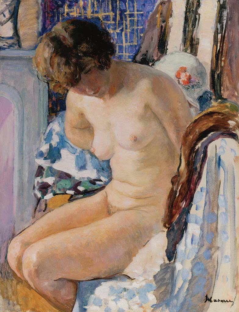 "Анри Лебаск (Henri Lebasque) ""Sitting Nude"""