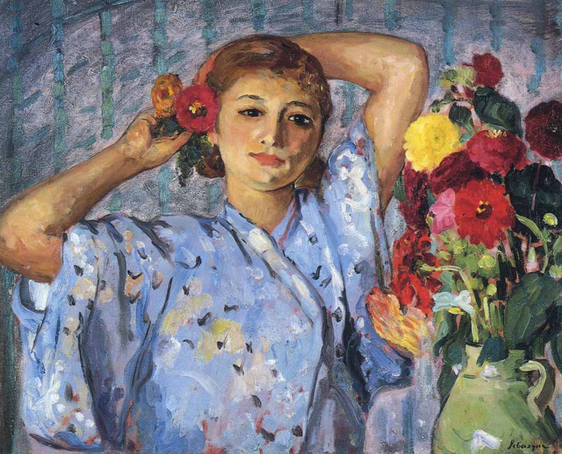 "Анри Лебаск (Henri Lebasque) ""Молодая девушка с цветами"""