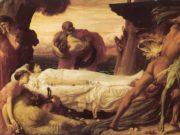 "Фредерик Лейтон (Frederick Leighton), ""Борьба Геркулеса и Танатоса за освобождение Альцесты из царства мертвых"""