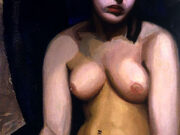 """Тамара Лемпицка (Tamara Lempicka) """"Nude, Blue Background"""""""