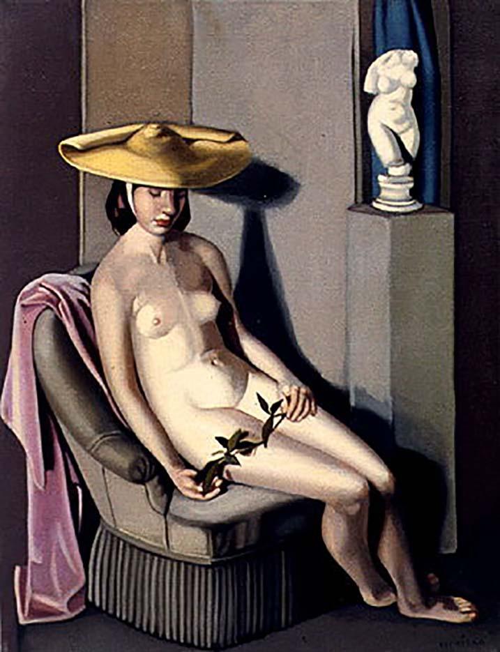 "Тамара Лемпицка (Tamara Lempicka) ""Nude with Straw Hat"""