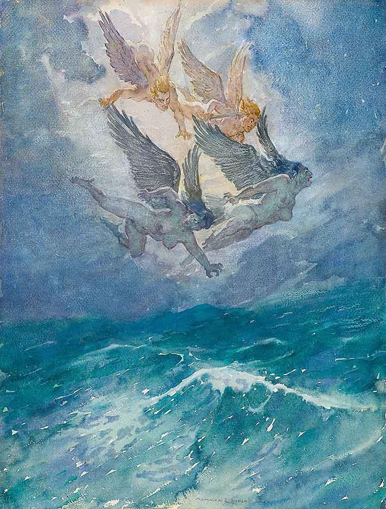 """Норман Линдсей (Norman Lindsay) """"Wind and the Furies"""""""