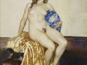 "Норман Линдсей (Norman Lindsay) ""Обнаженная на золотой ткани | Nude On Gold Cloth"""