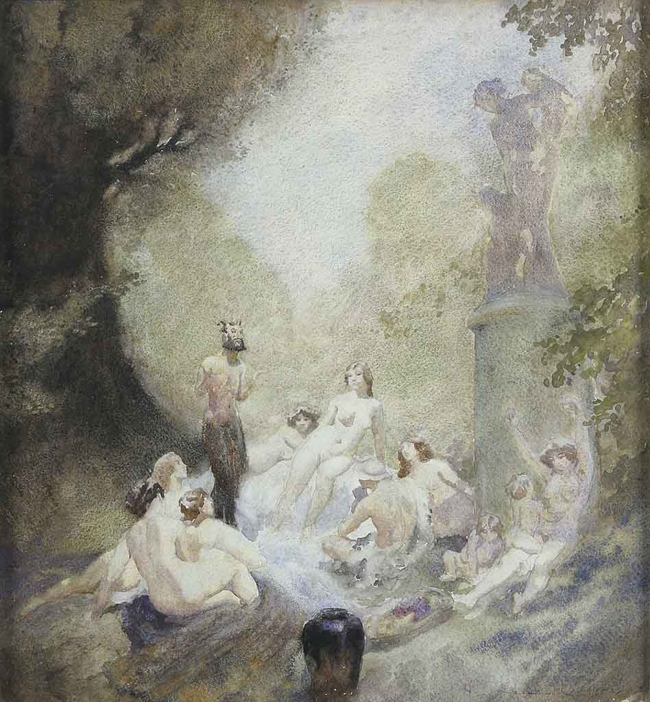 "Норман Линдсей (Norman Lindsay) ""Сатир и нимфы 
