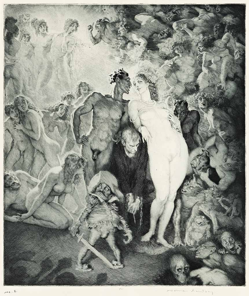 "Норман Линдсей (Norman Lindsay) (Etching) ""Self-portrait (Etching)"""