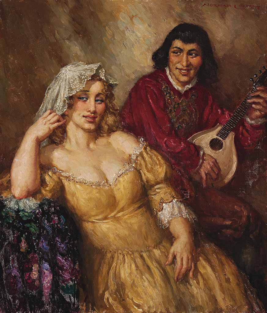 "Норман Линдсей (Norman Lindsay) ""Дама и трубадур 