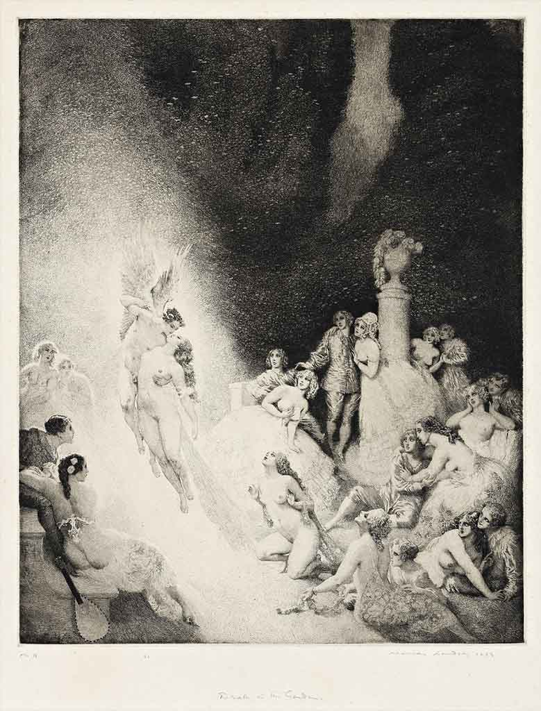 "Норман Линдсей (Norman Lindsay) (Etching) ""Death In The Garden (etching and aquatint)"""