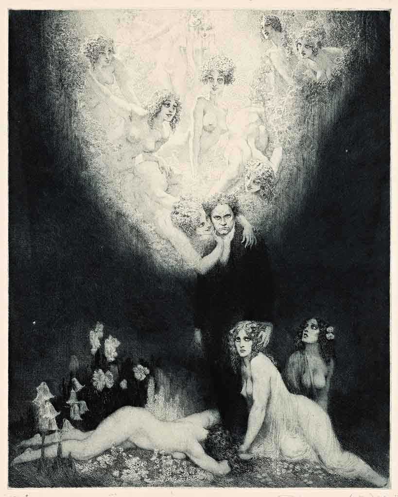 "Норман Линдсей (Norman Lindsay) (Etching) ""Квартет до-диез минор (Офорт) 