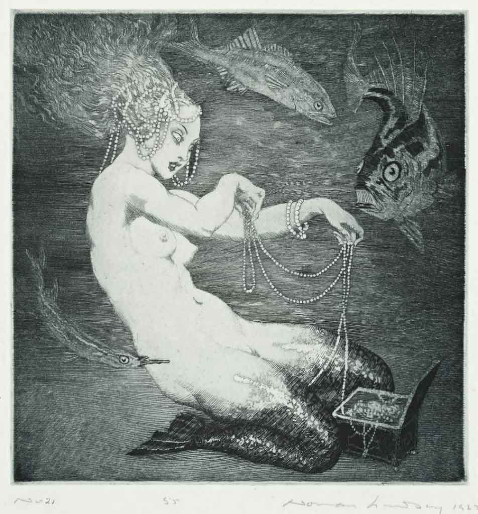 "Норман Линдсей (Norman Lindsay) (Etching) ""Treasure"""