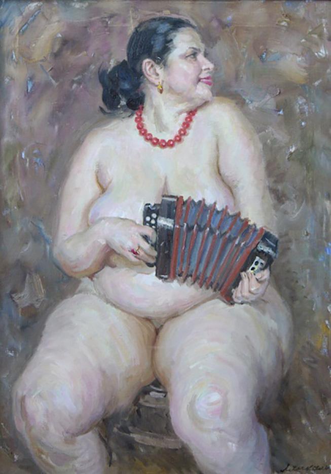 """Виктор Ляпкало (Victor Lyapcalo), """"Музыкальная дама с гармошкой"""""""