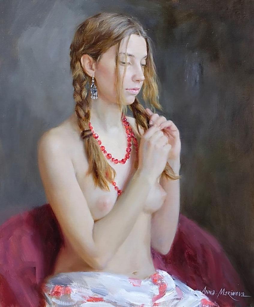 """Анна Маринова (Anna Marinova) """"Красные бусы   Red beads"""""""