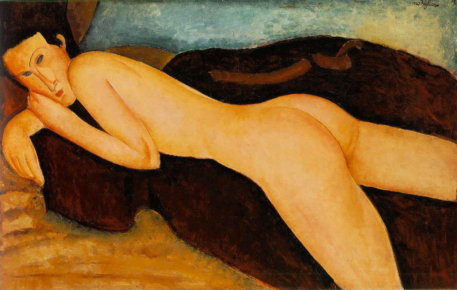 """Амедео Модильяни (Amedeo Modigliani), """"Reclining Nude from the Back"""""""