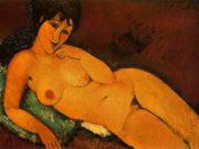 """Амедео Модильяни (Amedeo Modigliani), """"Обнаженная с синей подушкой"""""""