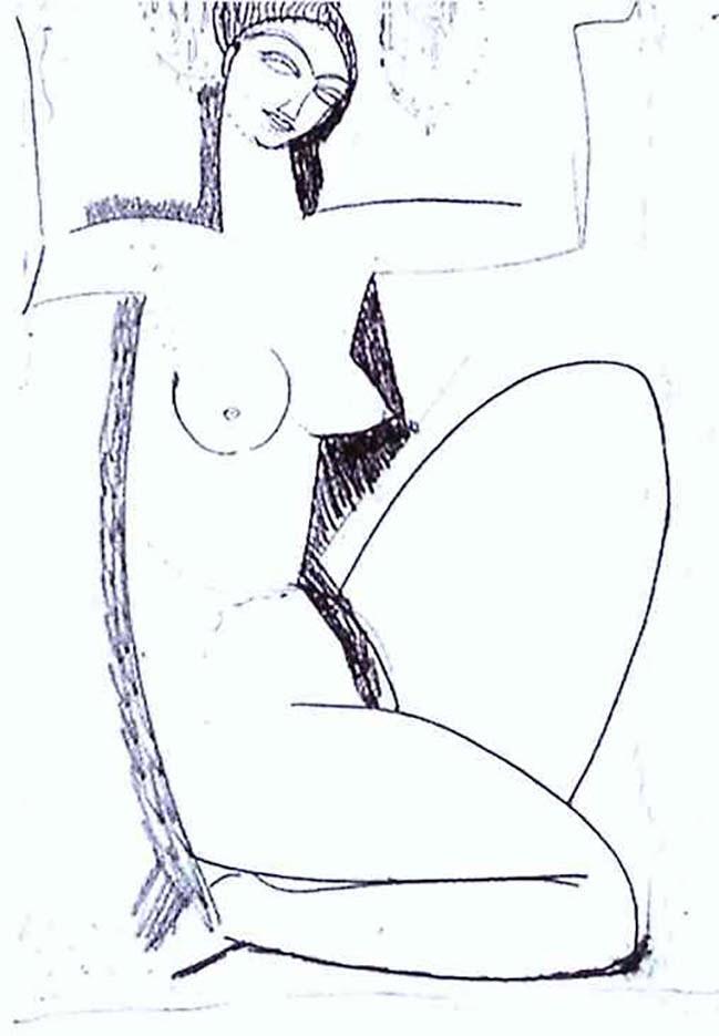 """Амедео Модильяни (Amedeo Modigliani), """"Кариатида (drawing)"""""""