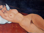 "Амедео Модильяни (Amedeo Modigliani), ""Female Nude Reclining on a White Pillow"""