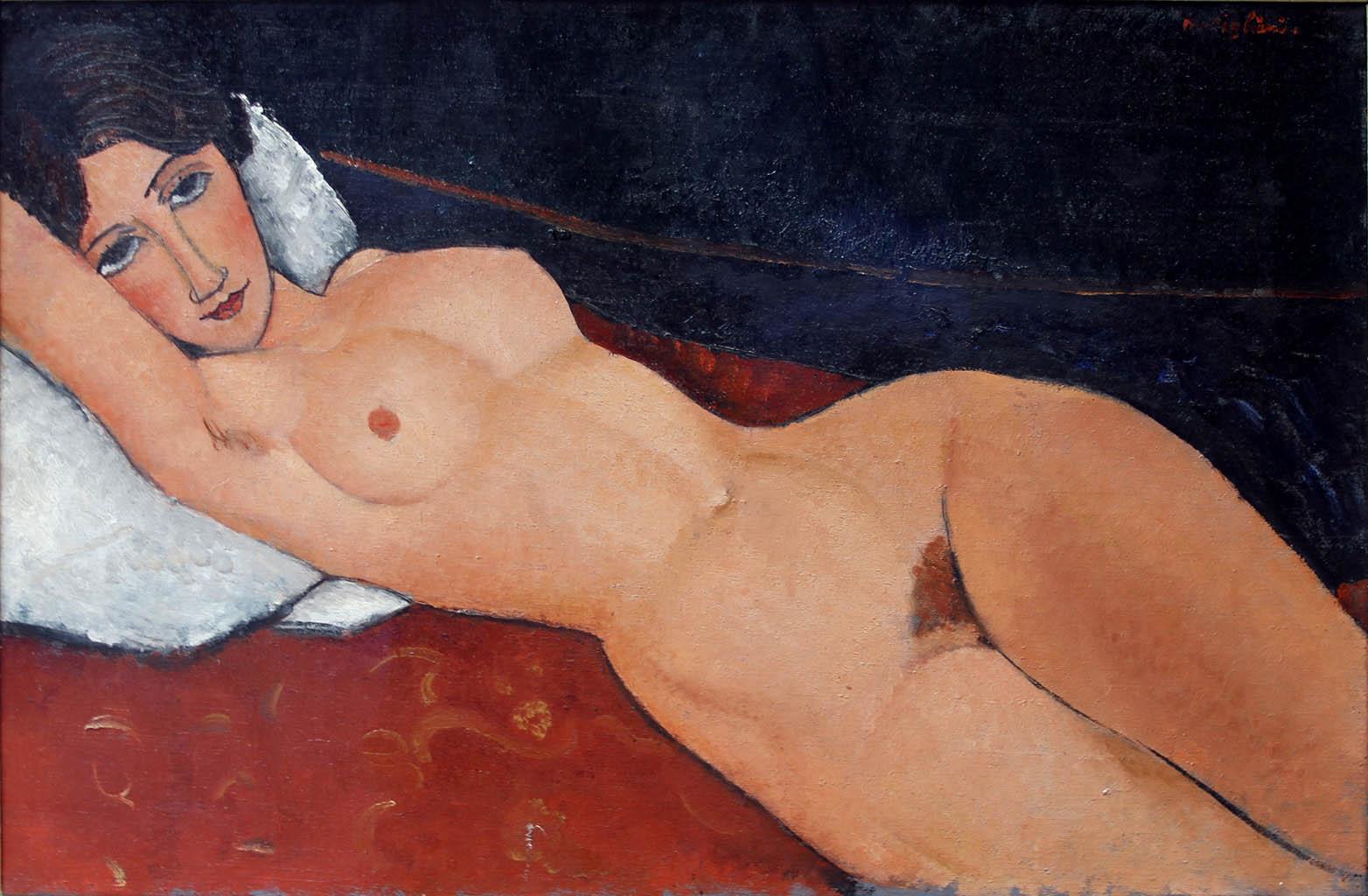"Амедео Модильяни (Amedeo Modigliani), ""Female Nude Reclining on a White Pillow"""